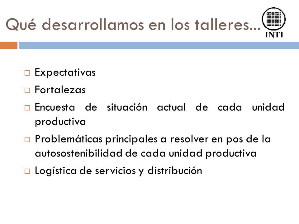 Qué desarrollamos en los talleres... Expectativas Fortalezas Encuesta de situación actual de cada unidad productiva Problemáticas principales a resolv