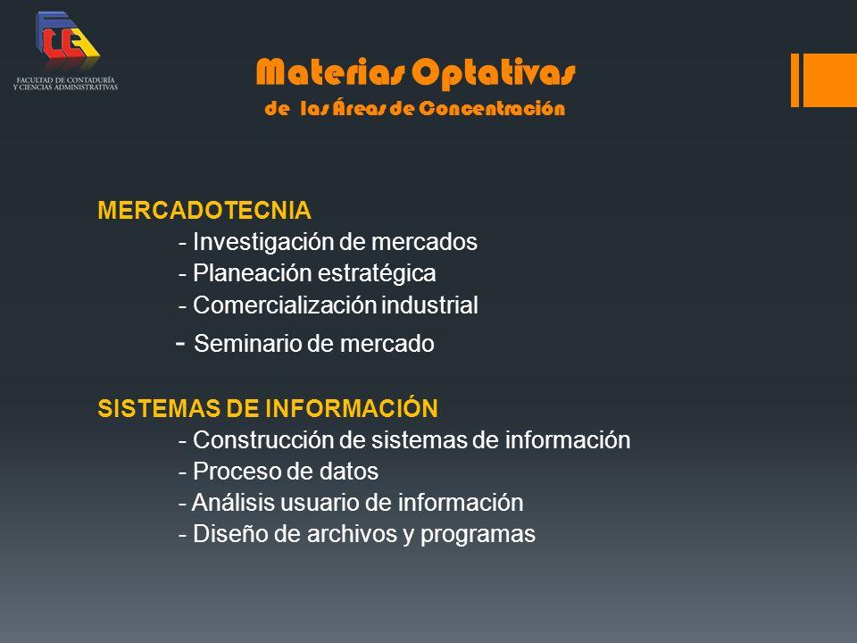 Materias Optativas de las Áreas de Concentración MERCADOTECNIA - Investigación de mercados - Planeación estratégica - Comercialización industrial - Se
