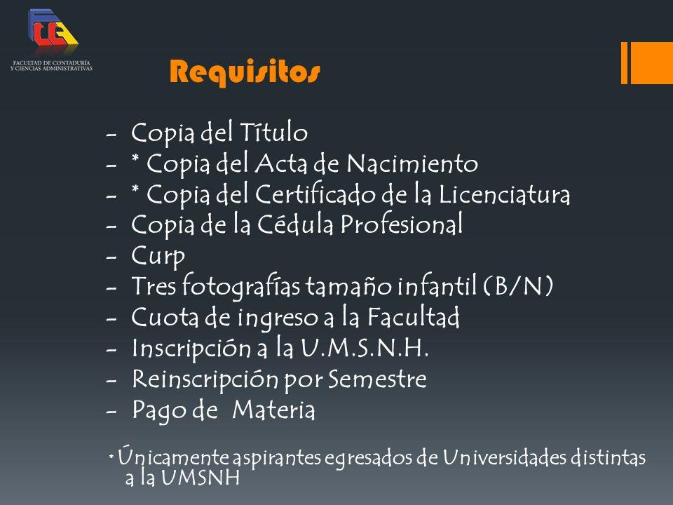 Requisitos - Copia del Título - * Copia del Acta de Nacimiento - * Copia del Certificado de la Licenciatura - Copia de la Cédula Profesional - Curp -