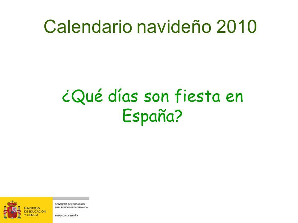 Calendario navideño 2010 ¿Qué días son fiesta en España?