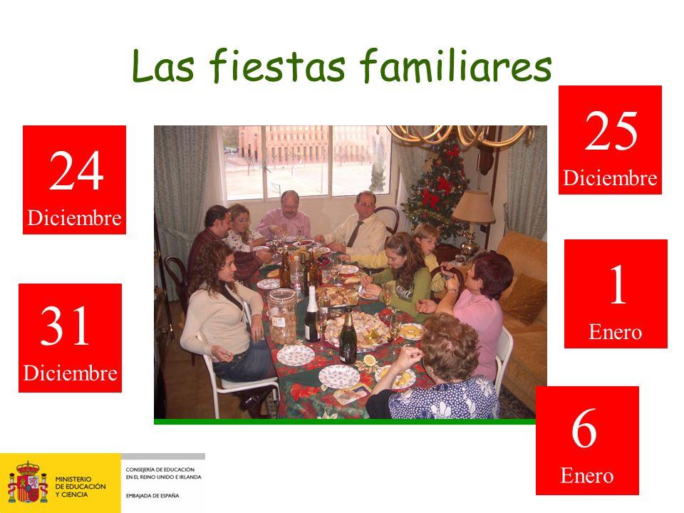 Las fiestas familiares 25 Diciembre 24 Diciembre 1 Enero 31 Diciembre 6 Enero