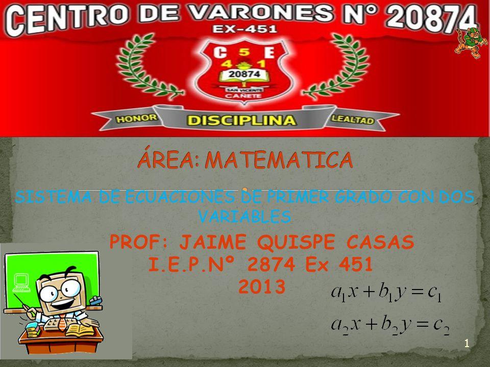 PROF: JAIME QUISPE CASAS I.E.P.Nº 2874 Ex 451 2013 1 SISTEMA DE ECUACIONES DE PRIMER GRADO CON DOS VARIABLES