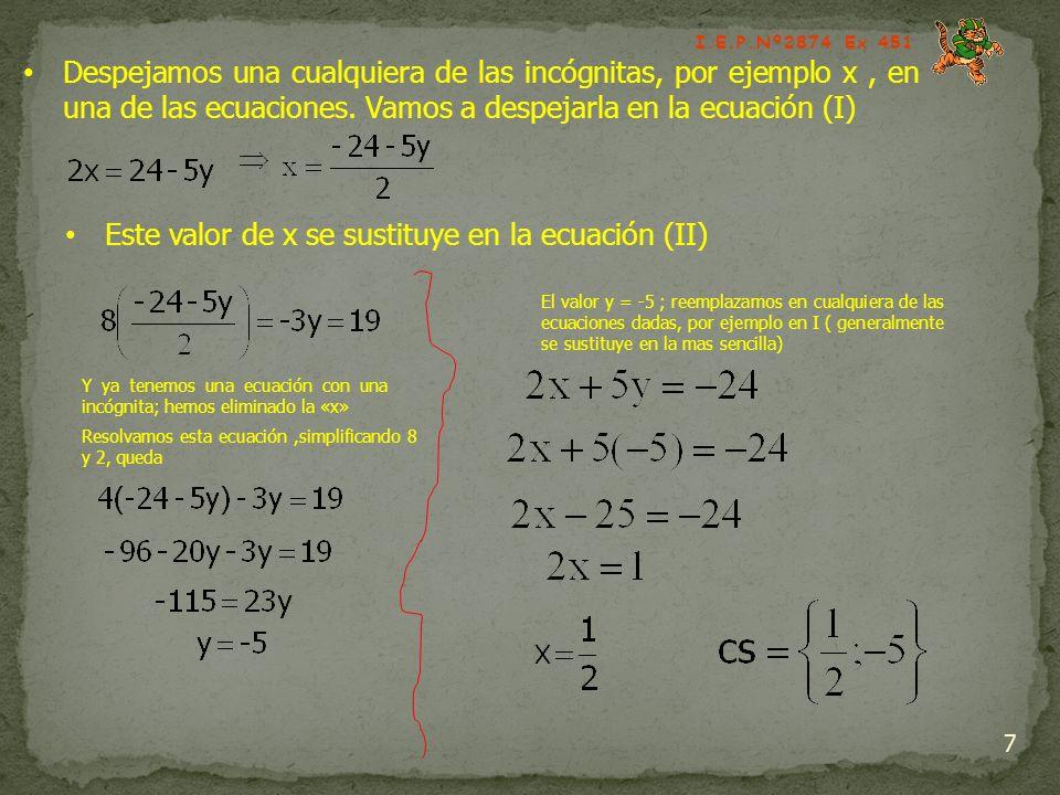 7 Despejamos una cualquiera de las incógnitas, por ejemplo x, en una de las ecuaciones. Vamos a despejarla en la ecuación (I) Este valor de x se susti