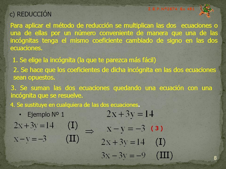 c) REDUCCIÓN 8 Para aplicar el método de reducción se multiplican las dos ecuaciones o una de ellas por un número conveniente de manera que una de las