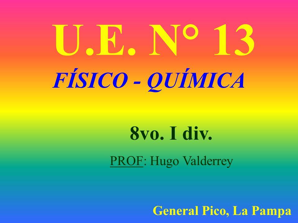 U.E. N° 13 FÍSICO - QUÍMICA 8vo. I div. PROF: Hugo Valderrey General Pico, La Pampa