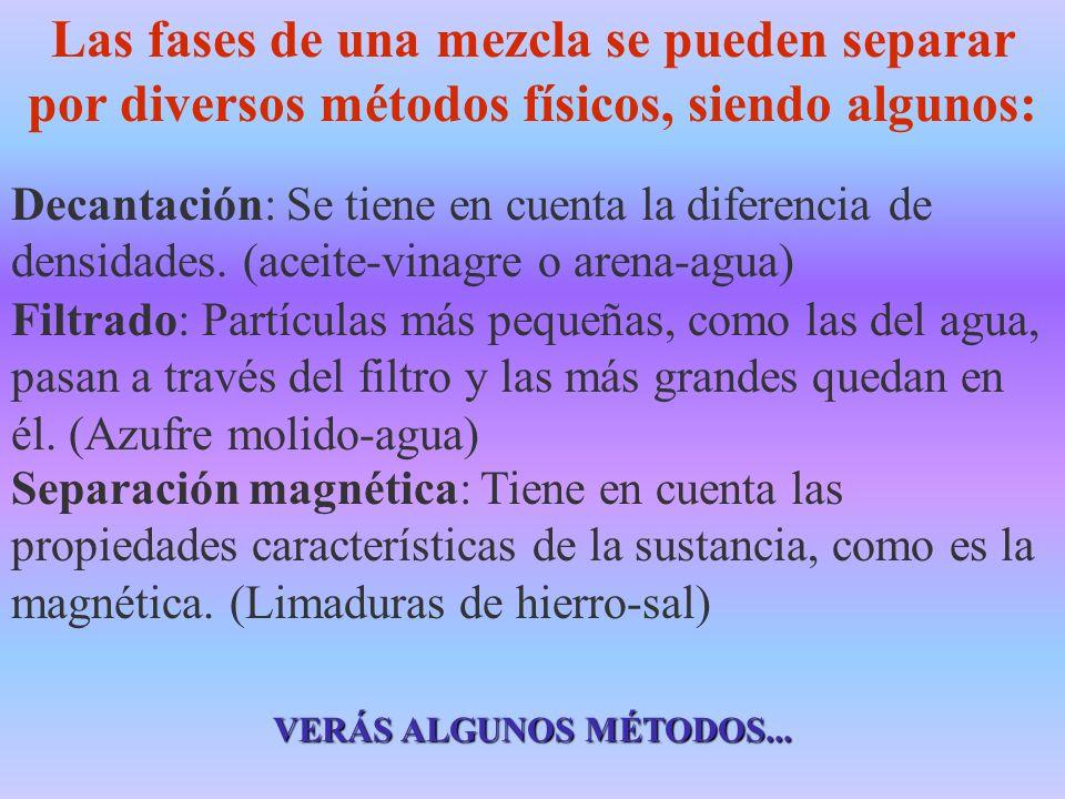 Las fases de una mezcla se pueden separar por diversos métodos físicos, siendo algunos: Decantación: Se tiene en cuenta la diferencia de densidades. (