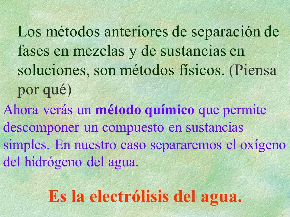 Los métodos anteriores de separación de fases en mezclas y de sustancias en soluciones, son métodos físicos. (Piensa por qué) Ahora verás un método qu