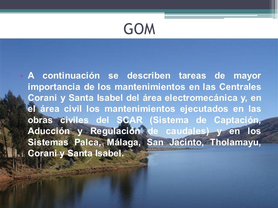 A continuación se describen tareas de mayor importancia de los mantenimientos en las Centrales Corani y Santa Isabel del área electromecánica y, en el