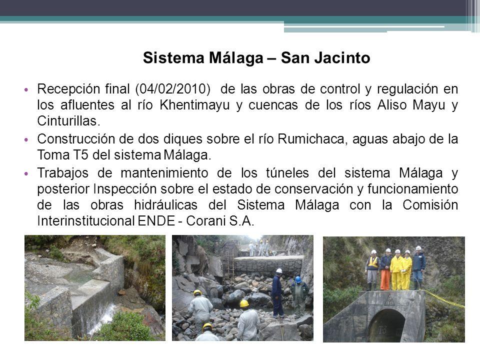 Sistema Málaga – San Jacinto Recepción final (04/02/2010) de las obras de control y regulación en los afluentes al río Khentimayu y cuencas de los río