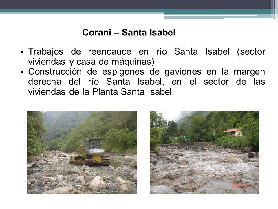 Trabajos de reencauce en río Santa Isabel (sector viviendas y casa de máquinas) Construcción de espigones de gaviones en la margen derecha del río San