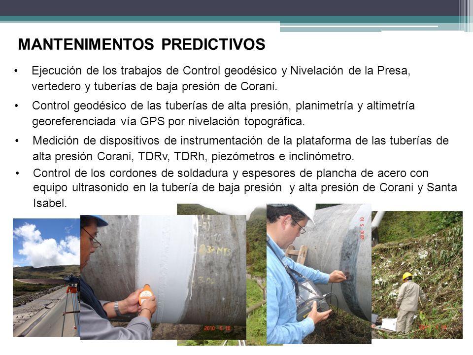 Ejecución de los trabajos de Control geodésico y Nivelación de la Presa, vertedero y tuberías de baja presión de Corani. MANTENIMENTOS PREDICTIVOS Con