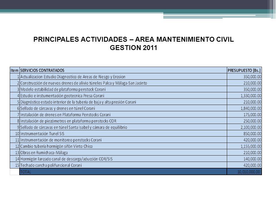 PRINCIPALES ACTIVIDADES – AREA MANTENIMIENTO CIVIL GESTION 2011