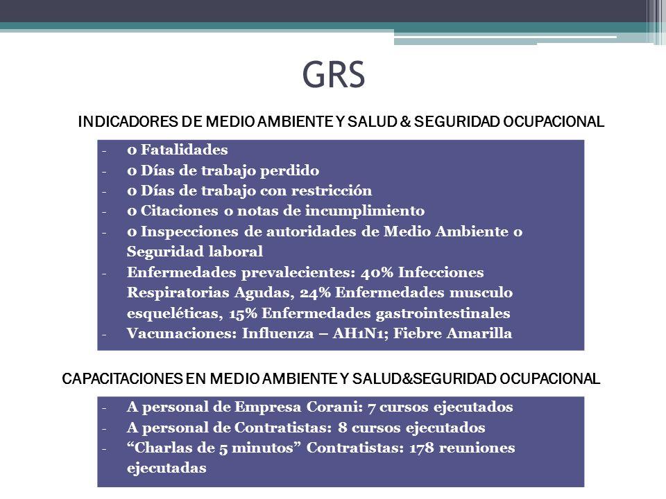 GRS - 0 Fatalidades - 0 Días de trabajo perdido - 0 Días de trabajo con restricción - 0 Citaciones o notas de incumplimiento - 0 Inspecciones de autor
