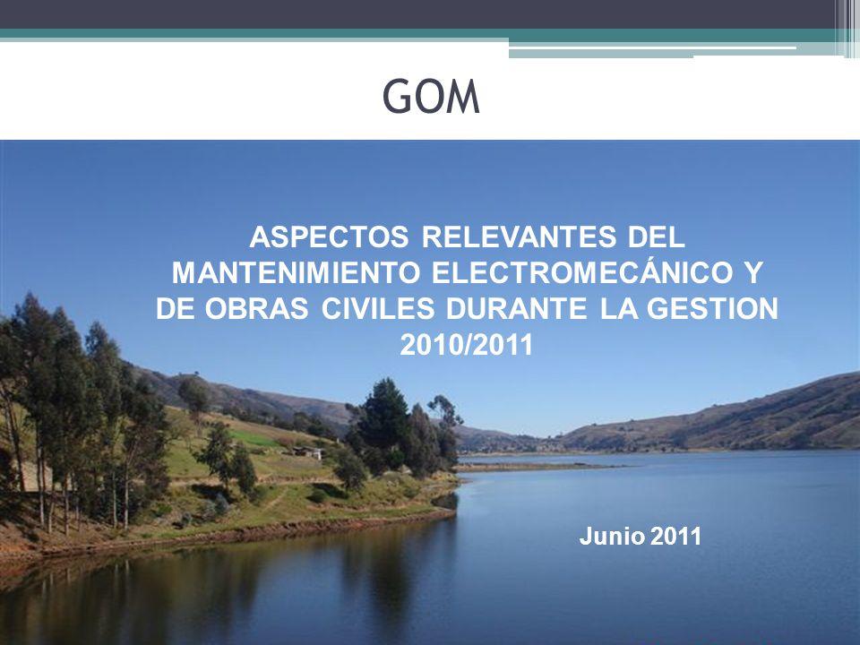 GOM ASPECTOS RELEVANTES DEL MANTENIMIENTO ELECTROMECÁNICO Y DE OBRAS CIVILES DURANTE LA GESTION 2010/2011 Junio 2011