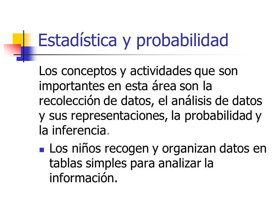 Estadística y probabilidad Los conceptos y actividades que son importantes en esta área son la recolección de datos, el análisis de datos y sus representaciones, la probabilidad y la inferencia.