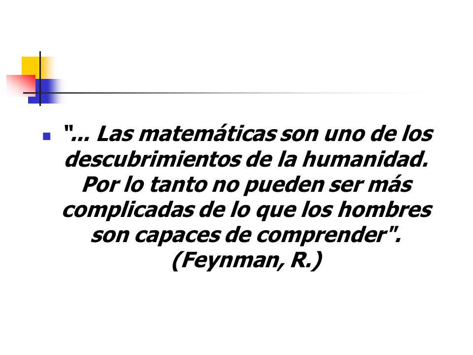 ... Las matemáticas son uno de los descubrimientos de la humanidad. Por lo tanto no pueden ser más complicadas de lo que los hombres son capaces de co