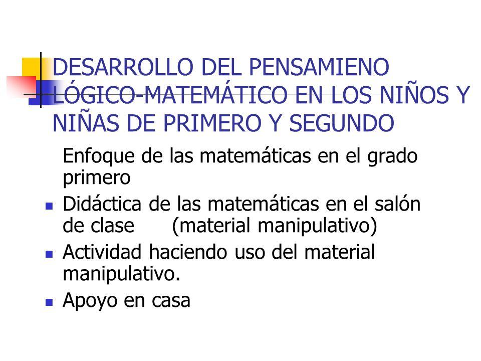 DESARROLLO DEL PENSAMIENO LÓGICO-MATEMÁTICO EN LOS NIÑOS Y NIÑAS DE PRIMERO Y SEGUNDO Enfoque de las matemáticas en el grado primero Didáctica de las