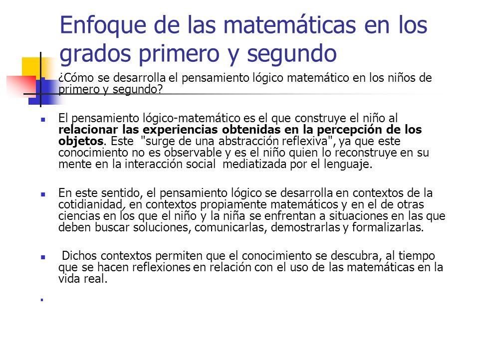 Enfoque de las matemáticas en los grados primero y segundo ¿Cómo se desarrolla el pensamiento lógico matemático en los niños de primero y segundo? El