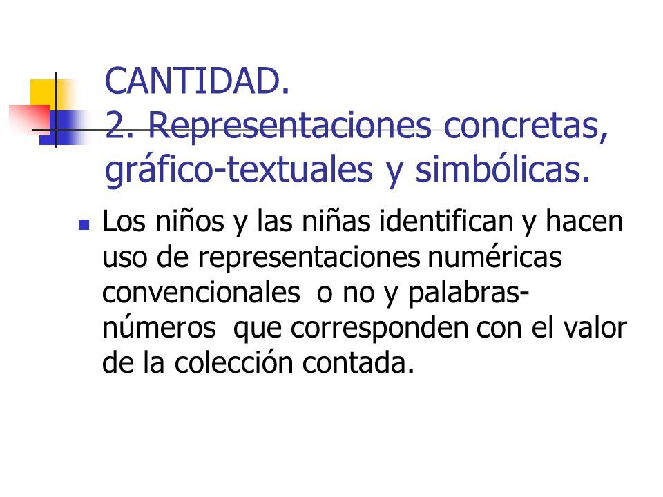 CANTIDAD. 2. Representaciones concretas, gráfico-textuales y simbólicas. Los niños y las niñas identifican y hacen uso de representaciones numéricas c