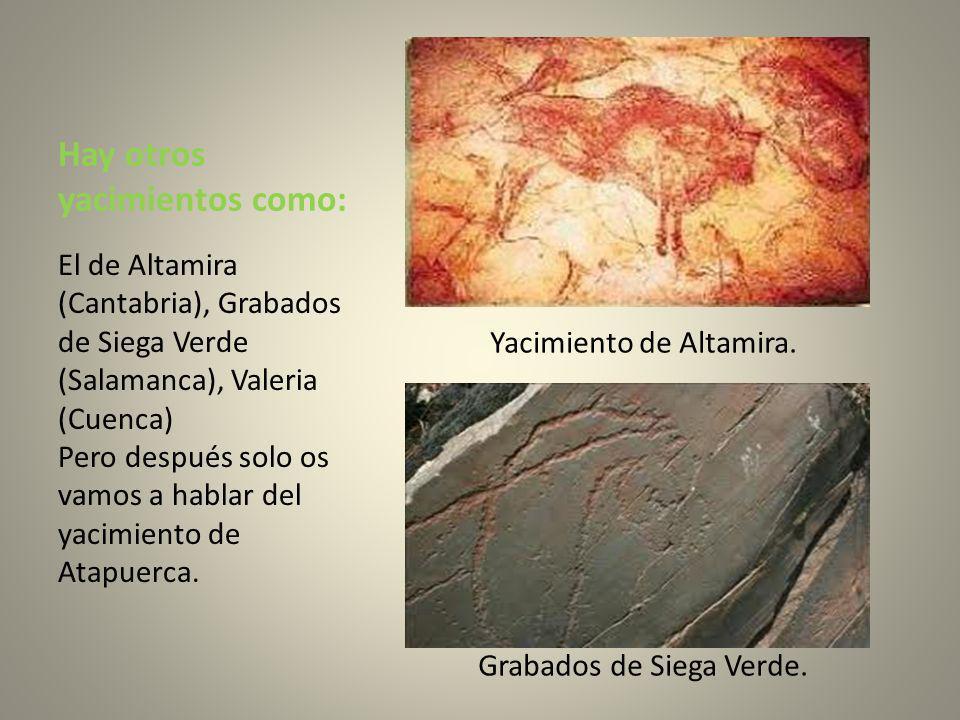 Hay otros yacimientos como: Yacimiento de Altamira. Grabados de Siega Verde. El de Altamira (Cantabria), Grabados de Siega Verde (Salamanca), Valeria