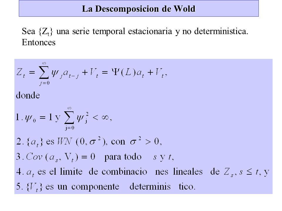 La Descomposicion de Wold Sea {Z t } una serie temporal estacionaria y no deterministica. Entonces