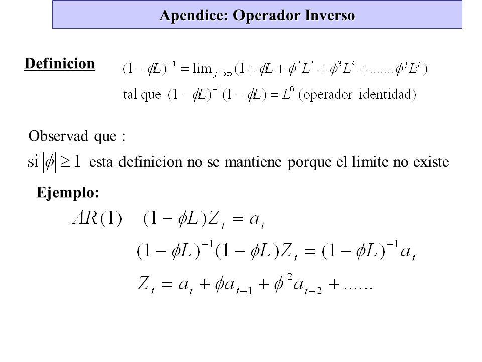 Apendice: Operador Inverso Definicion Observad que : esta definicion no se mantiene porque el limite no existe Ejemplo: