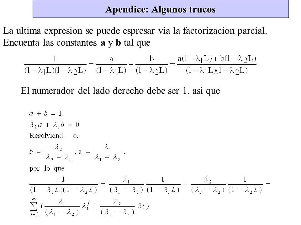 Apendice: Algunos trucos La ultima expresion se puede espresar via la factorizacion parcial. Encuenta las constantes a y b tal que El numerador del la