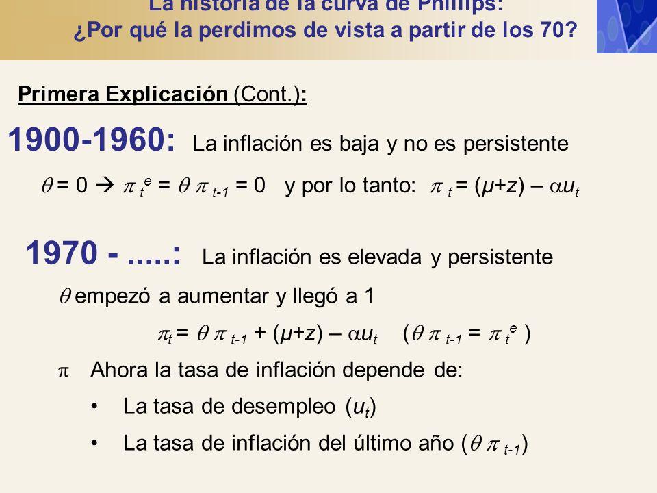 La historia de la curva de Phillips: ¿Por qué la perdimos de vista a partir de los 70? Primera Explicación (Cont.): 1900-1960: La inflación es baja y