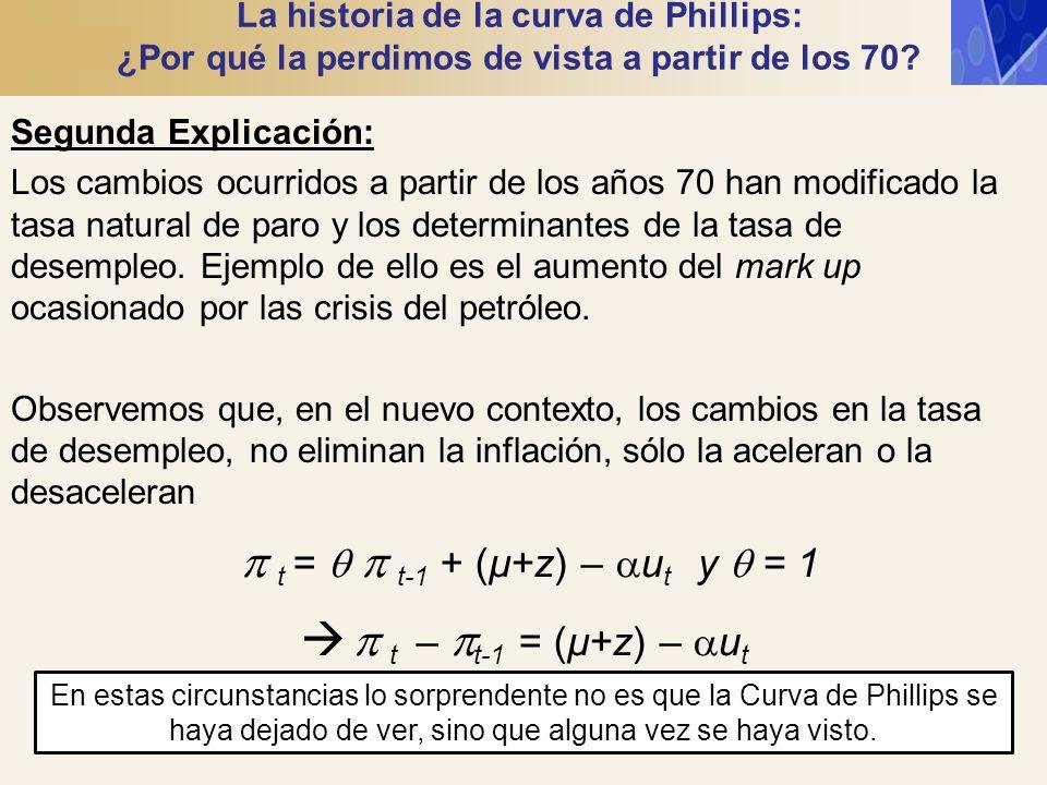t = t-1 + (µ+z) – u t y = 1 t – t-1 = (µ+z) – u t La historia de la curva de Phillips: ¿Por qué la perdimos de vista a partir de los 70? Segunda Expli
