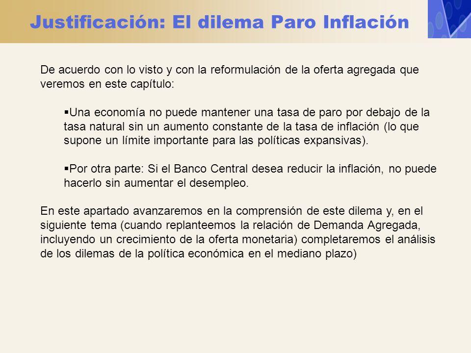 Justificación: El dilema Paro Inflación De acuerdo con lo visto y con la reformulación de la oferta agregada que veremos en este capítulo: Una economí