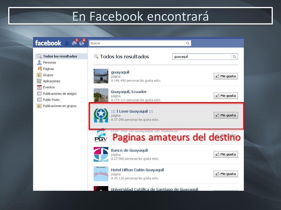 En Facebook encontrará Paginas amateurs del destino
