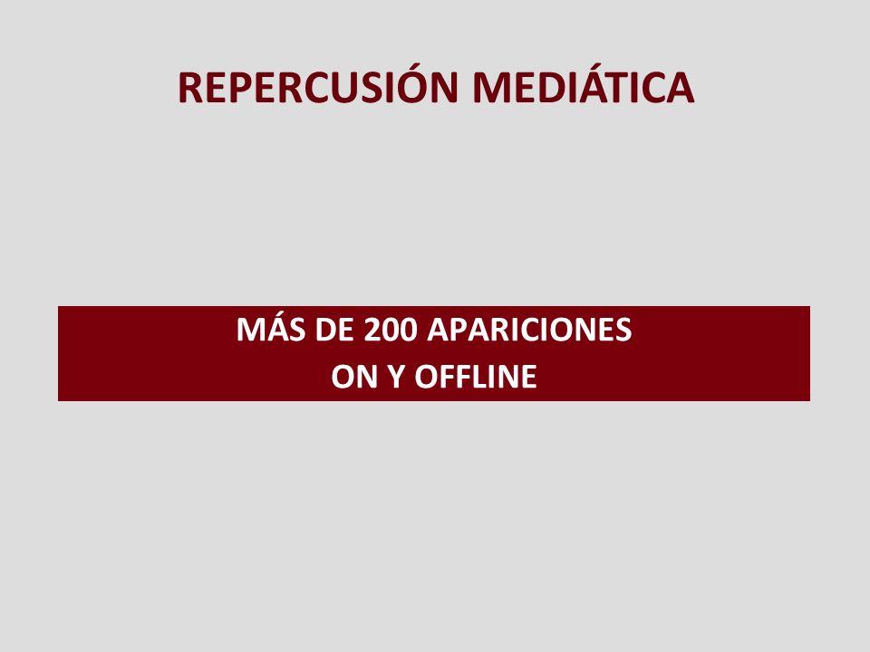 MÁS DE 200 APARICIONES ON Y OFFLINE REPERCUSIÓN MEDIÁTICA