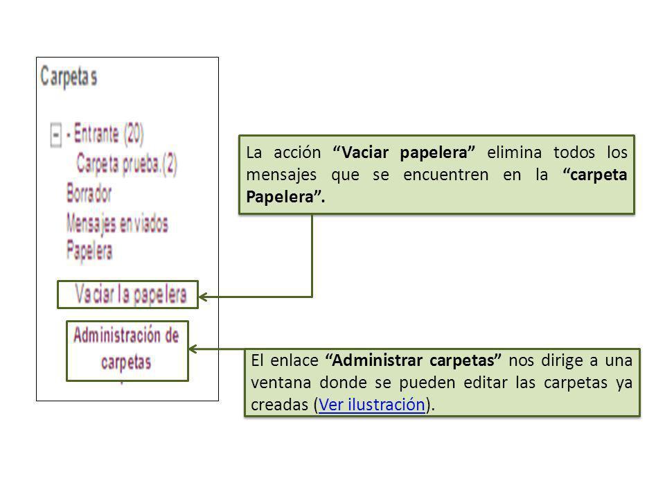 La carpeta Mensajes enviados guarda los mensajes que hemos enviado. La carpeta Papelera guarda todos los mensajes eliminados (Ver ilustración).Ver ilu