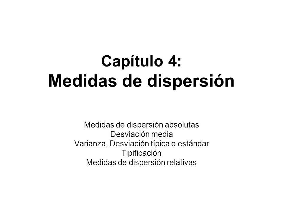Capítulo 4: Medidas de dispersión Medidas de dispersión absolutas Desviación media Varianza, Desviación típica o estándar Tipificación Medidas de disp