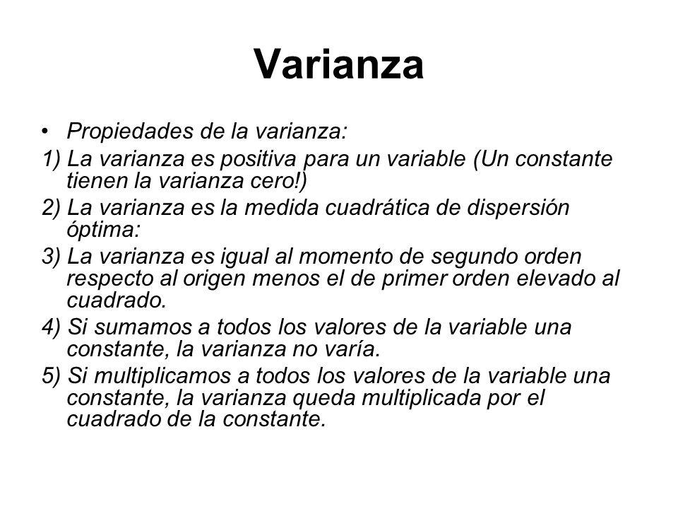 Varianza Propiedades de la varianza: 1) La varianza es positiva para un variable (Un constante tienen la varianza cero!) 2) La varianza es la medida c