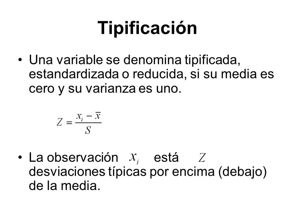 Tipificación Una variable se denomina tipificada, estandardizada o reducida, si su media es cero y su varianza es uno. La observación está desviacione