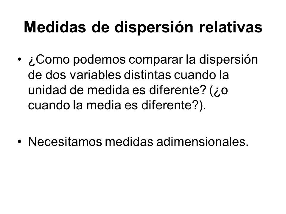 Medidas de dispersión relativas ¿Como podemos comparar la dispersión de dos variables distintas cuando la unidad de medida es diferente? (¿o cuando la