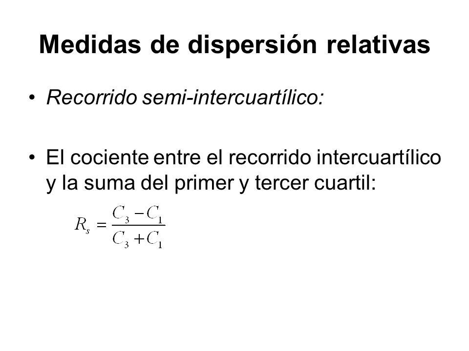 Medidas de dispersión relativas Recorrido semi-intercuartílico: El cociente entre el recorrido intercuartílico y la suma del primer y tercer cuartil: