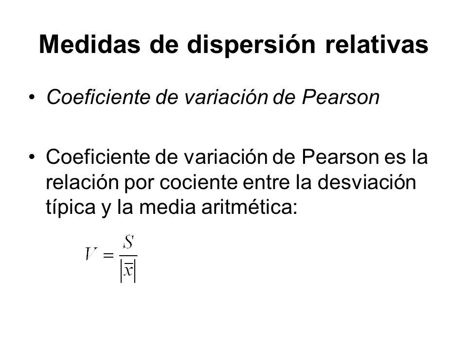 Medidas de dispersión relativas Coeficiente de variación de Pearson Coeficiente de variación de Pearson es la relación por cociente entre la desviació
