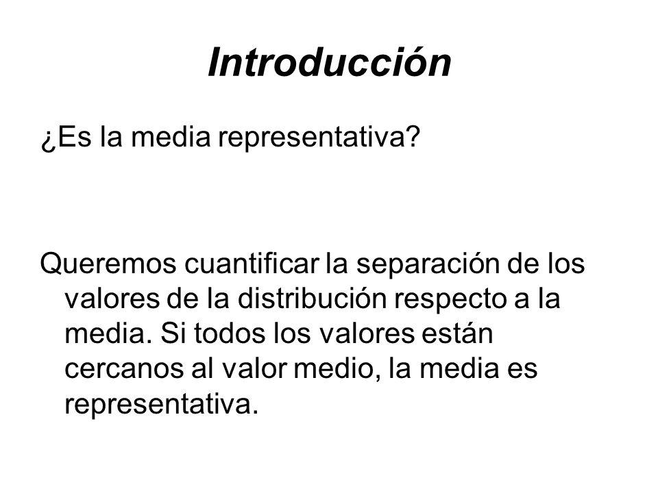 Introducción ¿Es la media representativa? Queremos cuantificar la separación de los valores de la distribución respecto a la media. Si todos los valor
