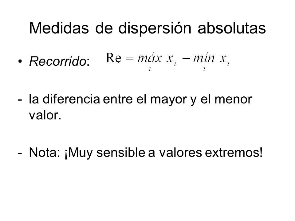 Medidas de dispersión absolutas Recorrido: -la diferencia entre el mayor y el menor valor. -Nota: ¡Muy sensible a valores extremos!