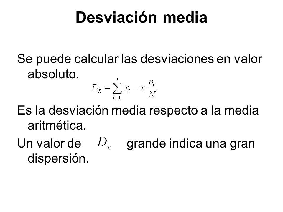 Desviación media Se puede calcular las desviaciones en valor absoluto. Es la desviación media respecto a la media aritmética. Un valor de grande indic