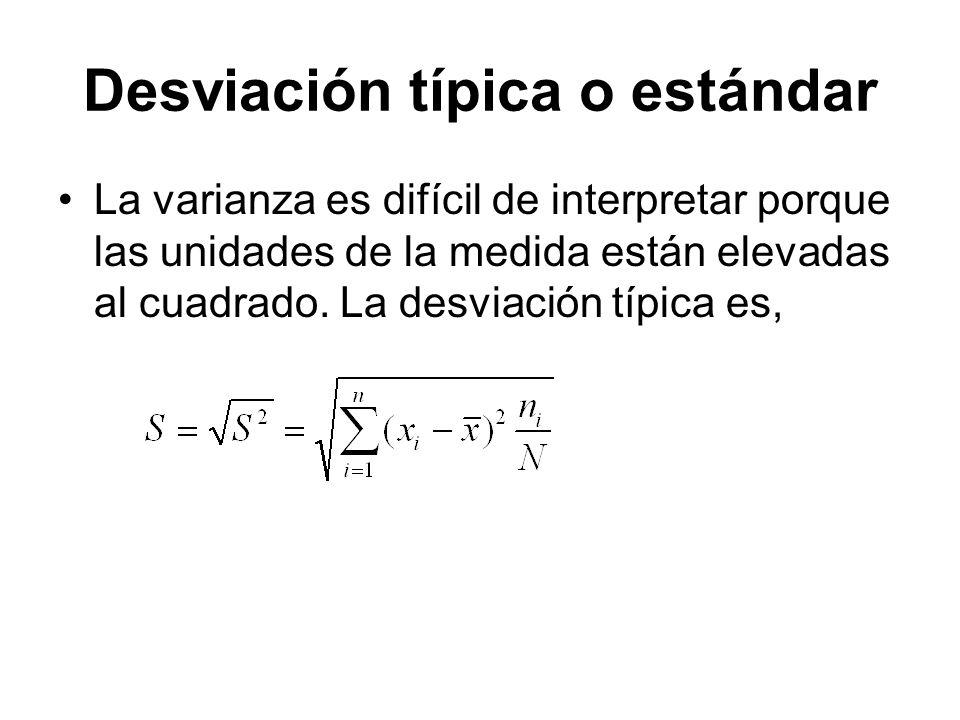 Desviación típica o estándar La varianza es difícil de interpretar porque las unidades de la medida están elevadas al cuadrado. La desviación típica e