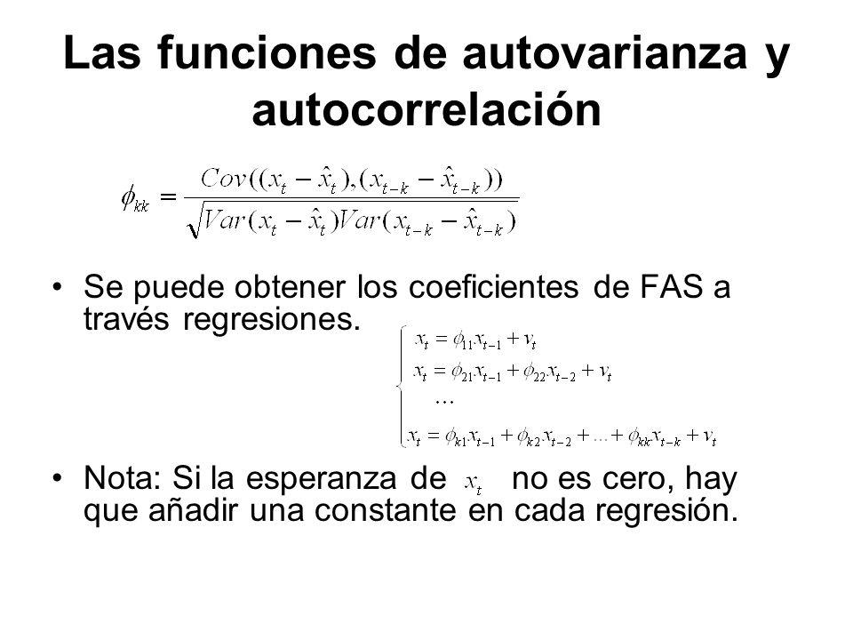 Las funciones de autovarianza y autocorrelación Se puede obtener los coeficientes de FAS a través regresiones. Nota: Si la esperanza de no es cero, ha