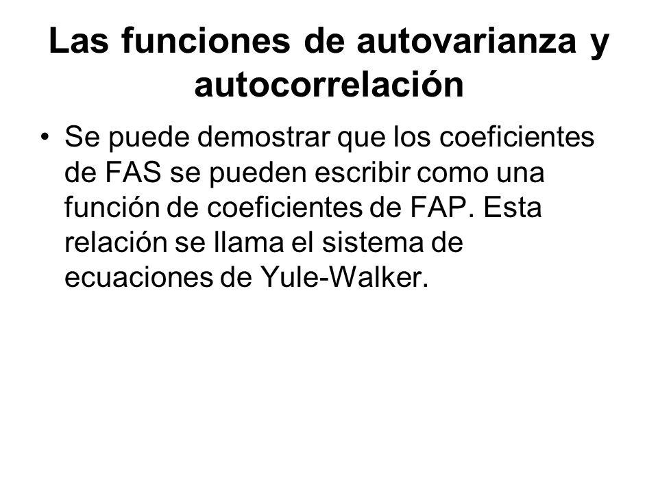 Las funciones de autovarianza y autocorrelación Se puede demostrar que los coeficientes de FAS se pueden escribir como una función de coeficientes de