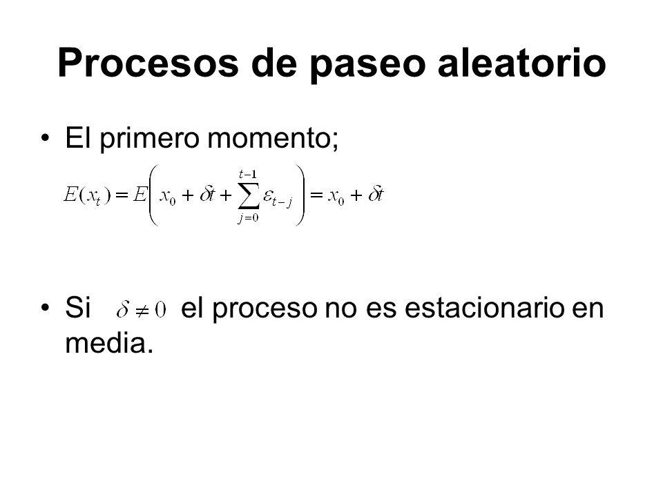 Procesos de paseo aleatorio El primero momento; Si el proceso no es estacionario en media.