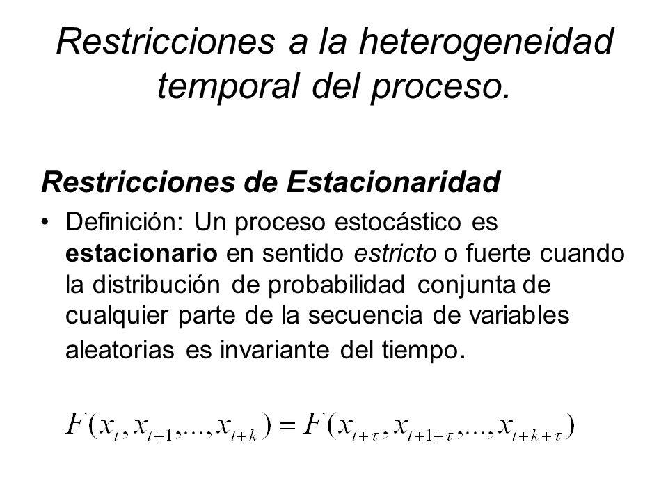 Restricciones a la heterogeneidad temporal del proceso. Restricciones de Estacionaridad Definición: Un proceso estocástico es estacionario en sentido