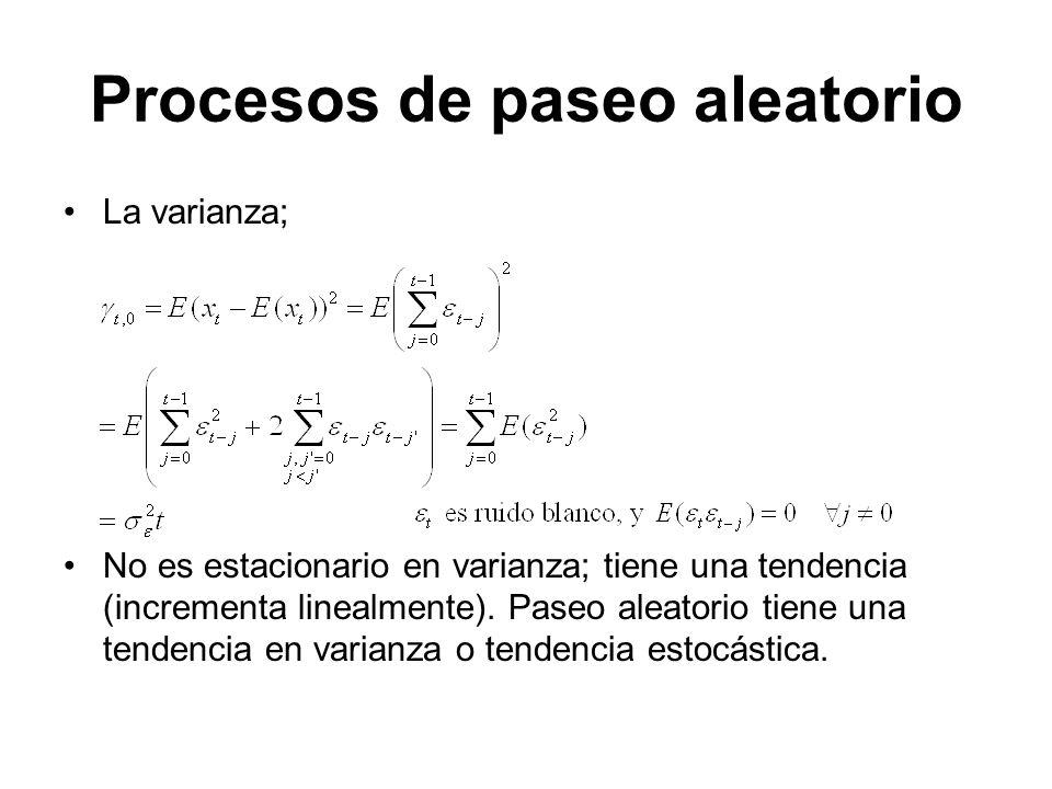 Procesos de paseo aleatorio La varianza; No es estacionario en varianza; tiene una tendencia (incrementa linealmente). Paseo aleatorio tiene una tende