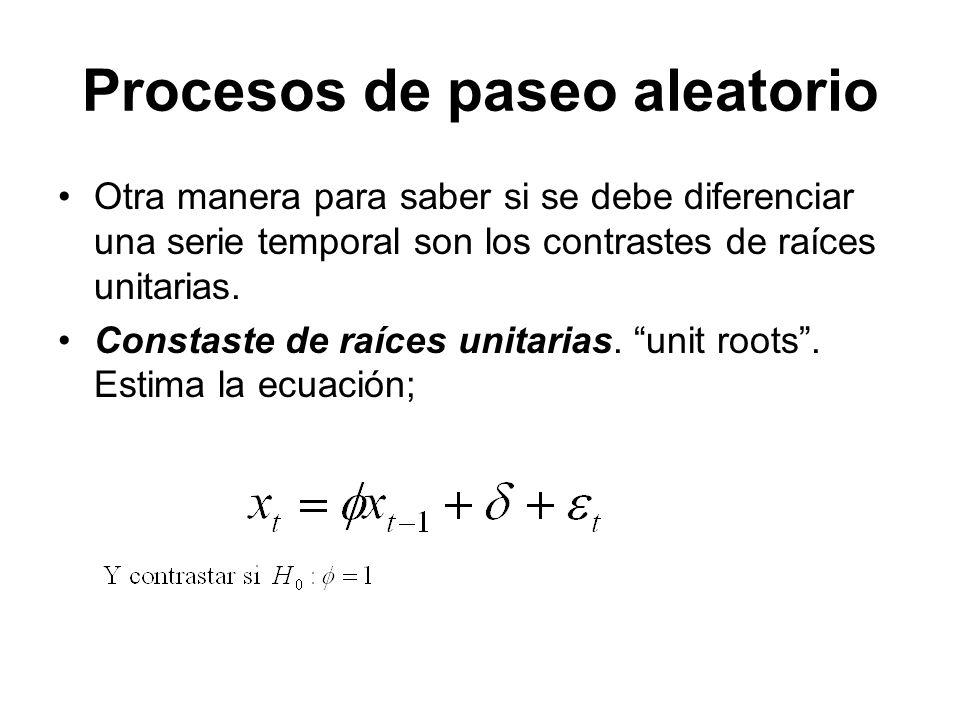 Procesos de paseo aleatorio Otra manera para saber si se debe diferenciar una serie temporal son los contrastes de raíces unitarias. Constaste de raíc
