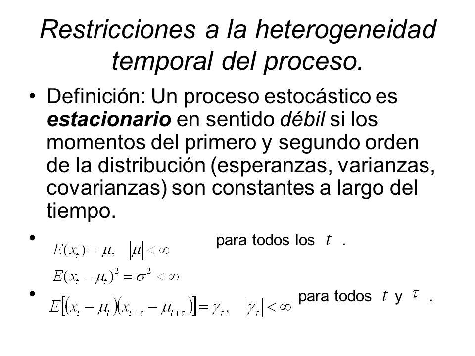 Restricciones a la heterogeneidad temporal del proceso. Definición: Un proceso estocástico es estacionario en sentido débil si los momentos del primer